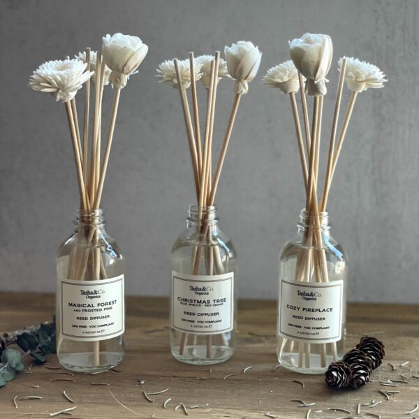 A Holiday Gift Set – Winter Hearth Collection – 3 Reed Diffusers & Sola Reeds